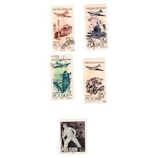 Poland Postage Stamps 1957 Air Set SC C41-43, 45  and  1963 20th Anniversary of Warsaw Ghetto  Uprising SC 1132