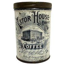 Astor House Brand Coffee Advertising Tin  Abbott Grocery Co.