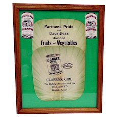 Clabber Girl Baking Powder Advertising Fan and Hang Tag Framed