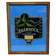 Shamrock Sunkist Oranges of California Framed Advertising Fan