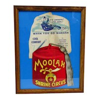 Advertising Fan Shrine Circus and Wabash Railroad Framed