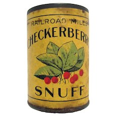 Railroad Mills Checkerberry Snuff  Advertising Tin