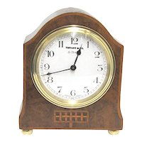 Antique Mantle Clock Inlaid French Burl Walnut Mantel Clock by Tiffany