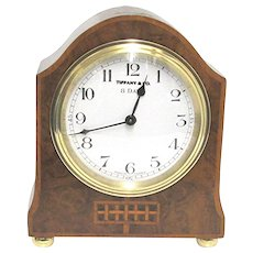Inlaid French Burl Walnut Mantel Clock by Tiffany