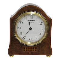 Antique Mantle Clock Inlaid French Burl Walnut  by Tiffany Keeps Excellent Time