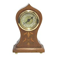 Antique Mantel Clock Inlaid Onion Top Mantle or Desk Clock
