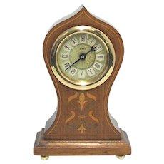 Inlaid Onion Top Mantel or Desk Clock