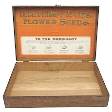 Wood Advertising Box For D.M. Ferry Seed Company Store Retail Display  Advertising Wood Box