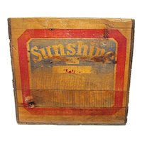 Sunshine Biscuits Wood Advertising Box or Crate