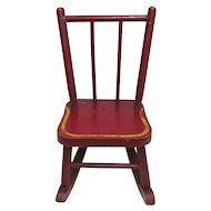 Doll Rocking Chair Original Red Painted Wood