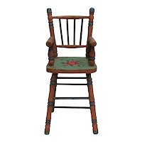 Country Painted High Chair for Doll