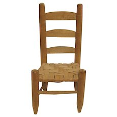 Ladderback Doll Chair with Hand Woven Seat  Childs Toy