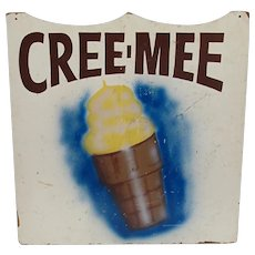 Cree-Mee Double Sided Wood Advertising Ice Cream Sign