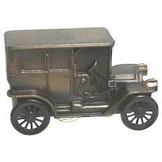 SOLD Sept. 2019 1908  Cadillac Model Car Cast Metal Savings Bank  by Banthrico
