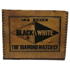 Advertising Wood Box Diamond Match Co. Shipping Crate