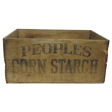 Peoples Corn Starch Wood Advertising Box Or Delivery Crate for National Starch Company