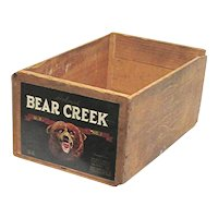 Bear Creek Wood Advertising Box Shipping Crate