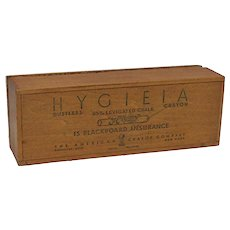 Hygieia Chalk Wood Advertising  Box with Hinged Top