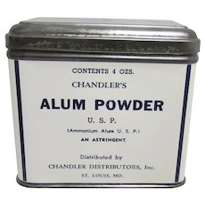 Chandler's Alum Powder Advertising Tin 4 oz Size Medical Tin