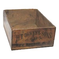 H.T. Dewey & Sons Co  Wood Advertising Box or Shipping Crate