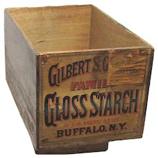 Advertising Wood Shipping Box  for Gilbert S. Graves Gloss Starch Buffalo New York