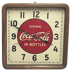 Original 1930's Coca Cola Advertising Clock Wood Frame