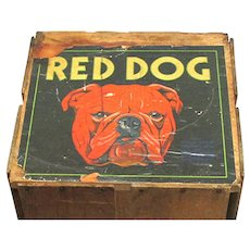 Red Dog Wood Advertising Box Fruit Shipping Crate