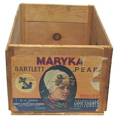 California Fruit Crate Original Label Wood Advertising Shipping Box Maryka Pears