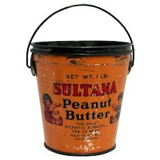 Advertising Tin Sultana Peanut Butter Advertising Pail or Bucket