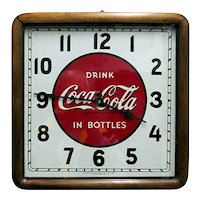 Original Wall Clock Coca Cola Advertising Wood Frame Clock