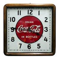 Original Wall Clock Coca Cola Advertising Wood Frame Clock