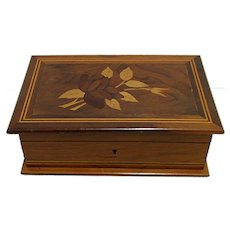 Inlaid Rosewood and Walnut Jewelry Box