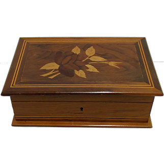 Inlaid Rosewood and Walnut Jewelry Box   ON SALE
