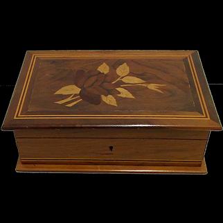 Inlaid Rosewood and Walnut Jewelry Box   ON SALE