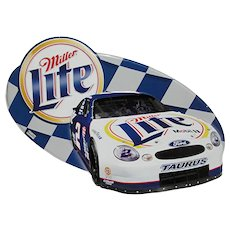 Metal Advertising Sign for Miller Lite Beer And Ford Taurus Auto Racing