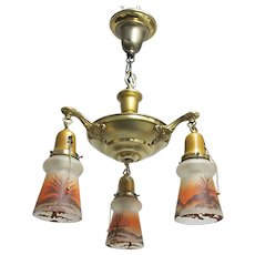3 Drop Light Chandelier Or Hanging Light Fixture Matching Hand Painted Shades  $400 ON SALE