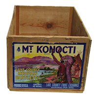 Wood Advertising Box Shipping Crate Mt. Konocti Brand Pears