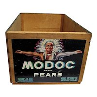 MODOC Pears Fruit Shipping Crate Wood Advertising Box