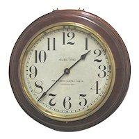 "Round Walnut Standard Electric Wall Clock 17"" diameter   ON SALE"
