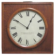 Large  Square Oak Wall Clock by Standard Electric Runs ad Keeps Time
