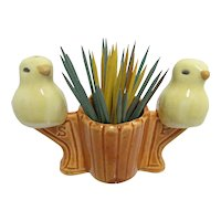 Salt and Pepper Set Pair of Perched Yellow Canaries and Toothpick Holder