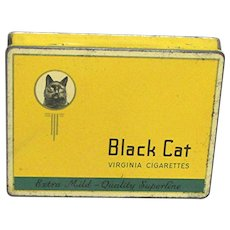 Black Cat Flat Cigarette Pocket Advertising Tin