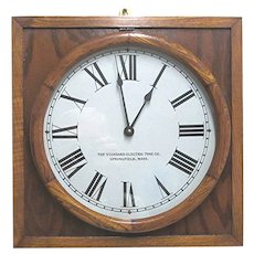 Oak Wall Clock by the Standard Electric Time Co.  Runs and Keeps Time