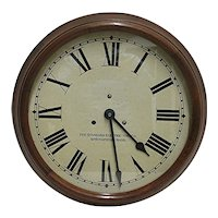 """Antique Solid Walnut Round Wall Clock 15"""" diameter Runs & Keeps Accurate Time"""