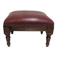 Footstool with Leather Covering