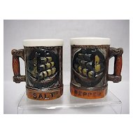 Salt and Pepper Set  Pair of Simulated Wood Stein Shakers
