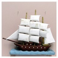 Wood Schooner American Folk Art 3 Mast Ship
