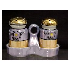 Lusterware 3 Piece Salt and Pepper Set in Stand