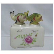 Bass Fish Nodder Salt and Pepper Shaker Set  No Damage and NOT a Repro Set