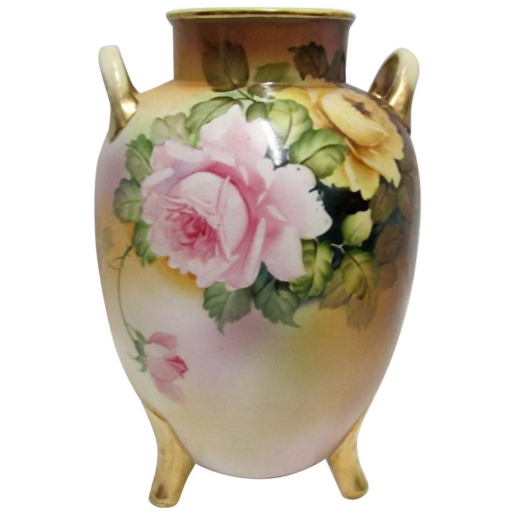 Nippon Vase 9 Tall Three Footed Hand Painted Drury House Antiques
